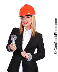 woman engineer holding bulb