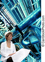 woman engineer pipes, tubes, machinery and steam turbine at...