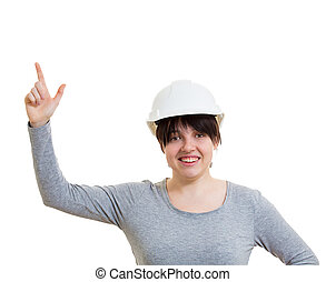 woman engineer pointing up