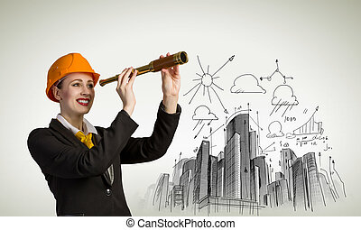 Woman engineer in helmet with scope against sketch background
