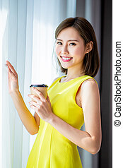 woman enjoy morning with coffee