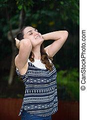 woman enjoy rain