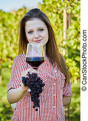 Woman Enjoying A Glass of Wine in t
