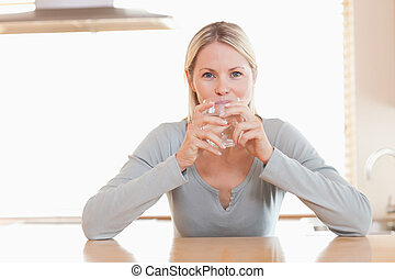 Woman enjoying a sip of water