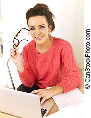 Woman Enjoying Her Job as a Freelancer - Woman at home with...
