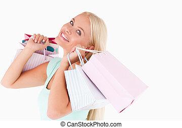 Woman enjoying her shopping