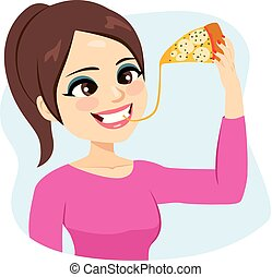 Woman Enjoying Melted Cheese Pizza - Illustration of young...