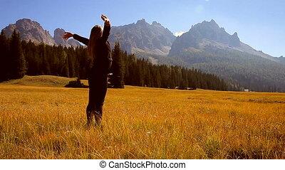 Woman enjoying nature happy