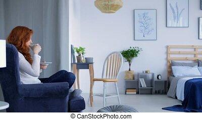 Woman enjoying peaceful time in her bedroom movie