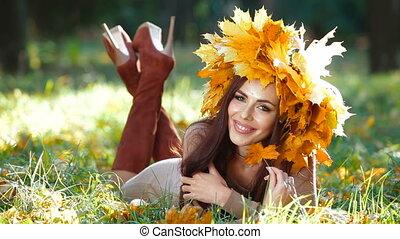 Woman Enjoying Sunny Autumn Day