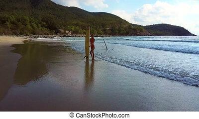 woman enjoys ocean scape holding board against landscape -...