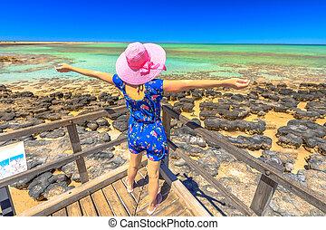 Woman enjoys Stromatolites