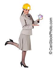 Woman entrepreneur on white background