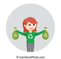 woman environmental activist with recycle plastic bag in circle background
