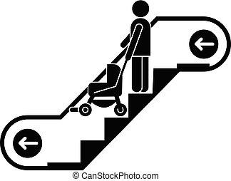 Woman escalator pram down icon, simple style - Woman...