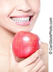 woman eszik, alma, fiatal, egészség, fog, piros