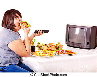 woman eszik, gyorsan elkészíthető étel, és, őrzés, tv.