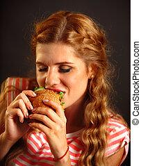 woman eszik, gyorsan elkészíthető étel, ., leány, élvez, finom, hamburger.