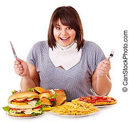 woman eszik, gyorsan, táplálék.