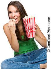 woman eszik, pattogatott kukorica