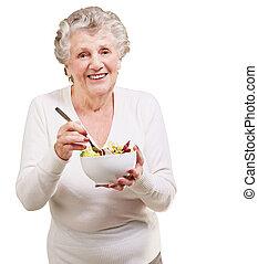 woman eszik, saláta, felett, háttér, portré, idősebb ember, fehér
