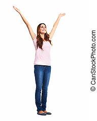 woman., excité heureux