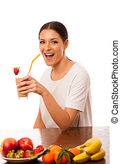 Woman excited of fresh fruit smoothie healthy meal.