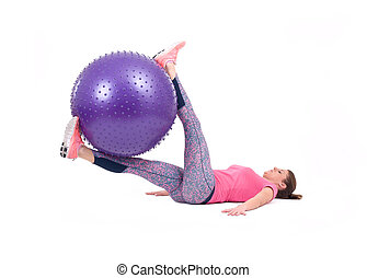 Woman exercise with a pilates ball - Sport woman exercise...