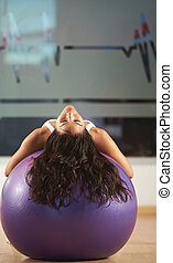 woman exercise with fitness ball
