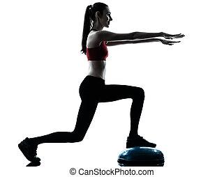 woman exercising bosu balance ball trainer silhouette