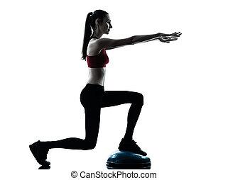 woman exercising bosu balance ball trainer