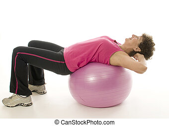 woman exercising core training fitness ball
