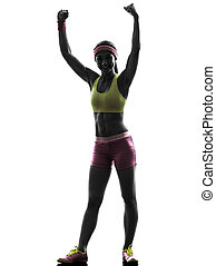 woman exercising fitness arms raised   silhouette