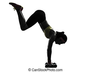 woman exercising fitness workout handstand  silhouette