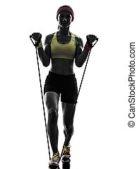 woman exercising fitness workout resistance bands silhouette