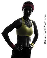 woman exercising fitness workout  silhouette smiling portrait