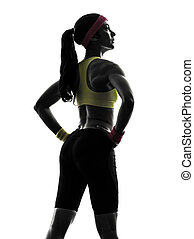 woman exercising fitness workout standing silhouette rear view