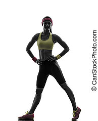 woman exercising fitness workout standing  silhouette