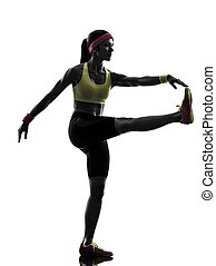 woman exercising fitness workout stretching silhouette