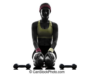 woman exercising fitness workout weights silhouette