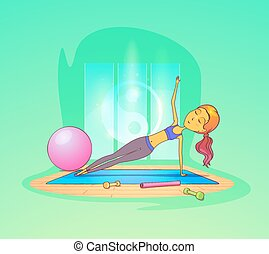 Woman exercising in gym in front of yin yang sign