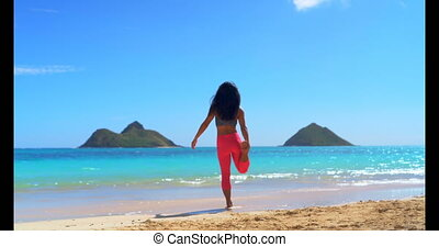Woman exercising in the beach 4k - Woman exercising in the...