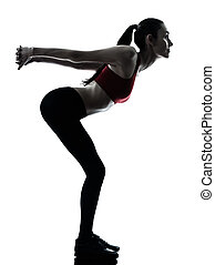 woman exercising stretching arms silhouette