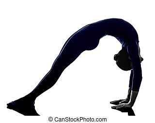 woman exercising Urdhva Dhanurasana bridge pose yoga silhouette
