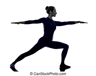 woman exercising Virbhadrasana II warrior pose yoga silhouette
