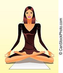 Woman exercising yoga meditation - vector illustration