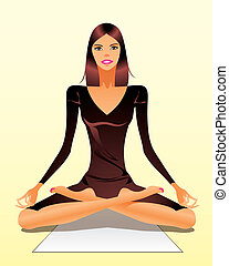 Woman exercising yoga meditation - vector illustration