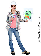 Woman explaining benefits of energy efficiency