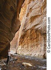 Woman exploring Zion National Park
