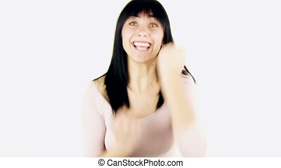 woman expression joy medium shot - Young woman expression...